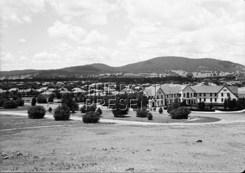 Residential district and Hotel Ainslie in North Central part of Canberra lowland.