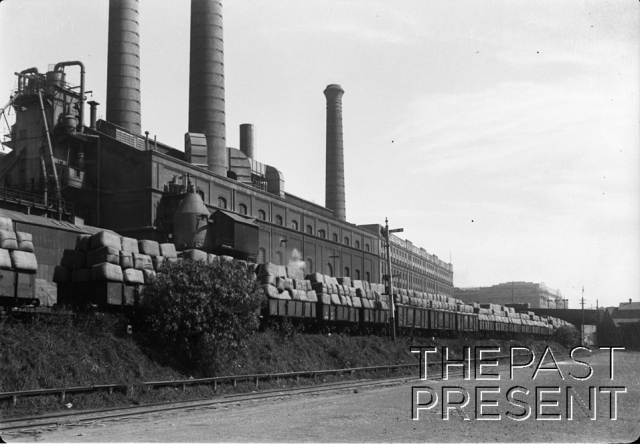 Wool train along side R.R. Power Station on Hay St. Australian Mercantile L. and F. Co. Ltd. Wool storage beyond power plant.