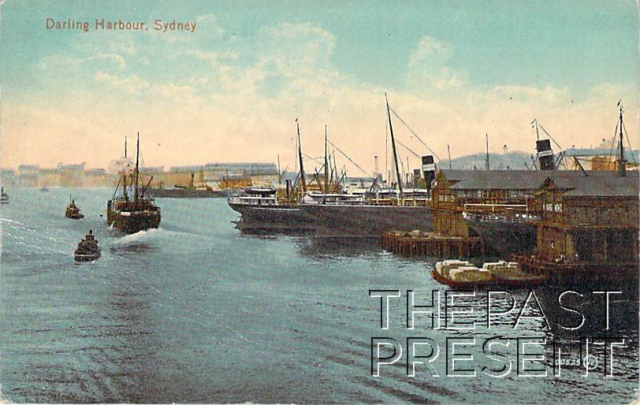 Darling Harbour Sydney Showing wharves and boats front copy