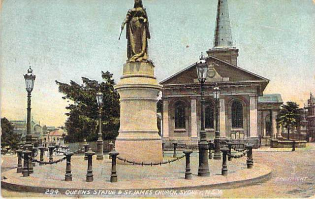 Queens Statue And St James Church Sydney NSW Front