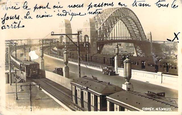 The Harbour Bridge Showing Tram Road And Rail Tracks Front
